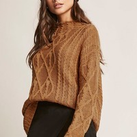Cable-Knit Mock Neck Sweater