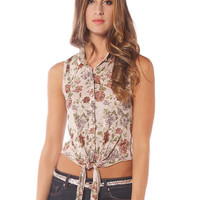 Papaya Clothing Online :: FRONT KNOT FLORAL PRINT TOP