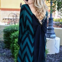 WRAPPED & READY CHEVRON DRESS IN FOREST