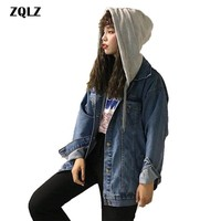 Zqlz Autumn Jacket Women 2018 Loose Hooded Denim Coat Female Casual Fashion Long Parka Mujer Spring Cotton Ladies Outwear