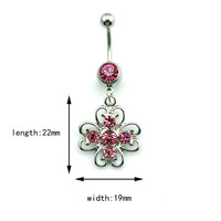 New Charming Dangle Crystal Navel Belly Ring Bling Barbell Button Ring Piercing Body Jewelry = 4804926340