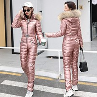 2Pcs Winter Womens Cotton Down Fur Collar Hooded Ski Suit Thicken Coats Peacoat&Pants Waterproof Shiny Slim Fit 5Colors New 2020