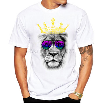 2017 New Fashion Cool Kind of Lion Printed Men's High Quality T Shirt Hipster Style Casual T-shirt