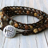 Leather Wrap Bracelet, Boho Style, Earthy, Jasper Brown, Double Wrap, Gifts for Her, Gifts under 40, September Fall Jewelry