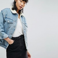 ASOS Denim Borg Jacket in Midwash Blue at asos.com