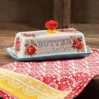 The Pioneer Woman Vintage Floral Teal Butter Dish - Walmart.com