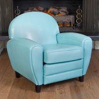 Unique Retro Modern Vintage Oversize Teal Lounge Bonded Leather Accent Club Chair