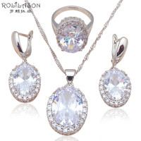 Silver stamped Earring Necklace Pendant rings AAA CZ diamond Fashion Jewelry Set for party JS586