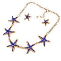 Casual Starfish Rhinestone Necklace And Earring