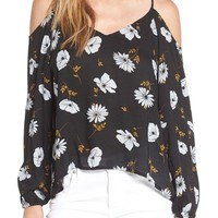 BP. Floral Print Cold Shoulder Top | Nordstrom