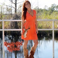 sporty girl apparel offers this stylish and comfortble orange deer hutning dress for women who want to be dressed to kill