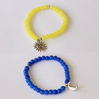 Day and Night/Sun and Moon Best Friends Friendship Bracelets - Sterling Silver Sun Charm