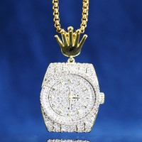Custom 14k Gold Finish Luxury Watch Iced Out Face Pendant Chain