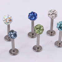 1piece 16G Labret Ring Stainless Steel CZ Crystal Ball Lip Ring Stud Ear tragus Body Jewelry industrial bar nipple ring piercing