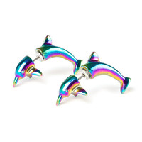 Rainbow Metallic Dolphin Front and Back Earrings