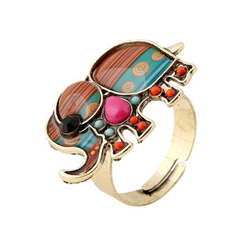 Vintage Bohemian Antique gold Alloy Carving Elephant Ring