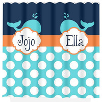 WHALE SHOWER CURTAIN Nautical Ocean Sea Coral Navy Aqua Custom Monogram Brothers Sisters Polka Dot Bathroom Decor Bath Beach Towel Bath Mat