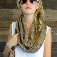 Tangled Up Brown Glitter Knit Infinity Scarf