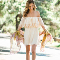 Delilah Ivory Crochet Off the Shoulder Dress