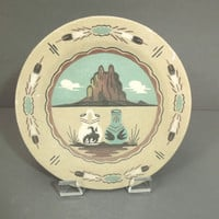 Sand painted plate - vintage Native American Pueblo style - American Indian decorative plate wall decor - southwestern wall art painting