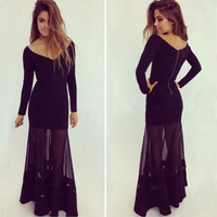 Sexy Women Long Sleeve Prom Ball Cocktail Party Dress Formal Evening Gown Gift Idea BOTW