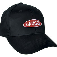 Red Danger Sign Hat Baseball Cap Alternative Clothing 90's Grunge