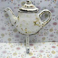 Teapot Hook White Chippy Cast Iron Worn and Weathered Tea Pot Kettle Wall Coat Towel Leash Keys Cottage Shabby Style Chic Kitchen Decor