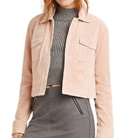 Suede Open- Front Crop Jacket