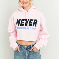 BDG Never Forever Cropped Pink Hoodie - Urban Outfitters