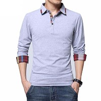 5XL New Men Polo Shirt Spring Cotton Solid Camisa Polo Full Sleeves Casual Men Camisas Brand Clothing