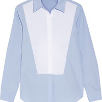 TOME - Open-back two-tone cotton-poplin shirt
