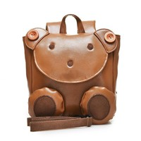 High quality fashion cartoon shape teddy bear  backpack casual ladies school bags pu leather school bag