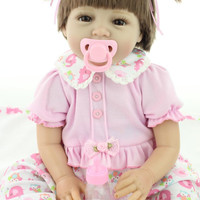 """22"""" 55cm Silicone Reborn Baby Doll Toy for Girl Lifelike Reborn Babies play house Toy Birthday Gift Girl Brinquedods"""