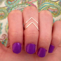 Chevron above knuckle wire rings. Set of 2. FREE SHIPPING
