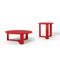 Madison 2-Piece Accent Table Living Room Set in Red Gloss