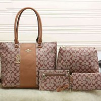 COACH Women Shopping Bag Leather Tote Handbag Shoulder Bag