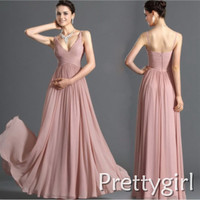 0023 two shoulder v neck maxi light blue baby pink chiffon formal bridesmaid dress brides maid long 2014 plus size ruffle