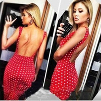 The 2015 women's dress and explosion wave point drain back sexy tight dress = 1956534148