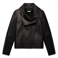 HELMUT LANG PETAL LEATHER HIGH COLLAR JACKET