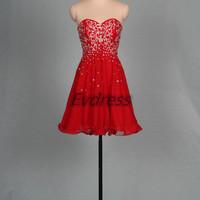 2015 short red chiffon prom dresses with sequins,chic cheap homecoming dress under 150,cute women gowns for cocktail party.