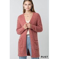 Popcorn Eyelash Open Front Long Line Cardigan