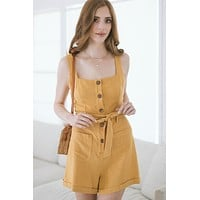 Joelle Square Neck Button Romper