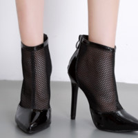 New hot selling pointed mesh high - top sexy heels