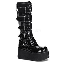 Demonia Women's Trashville Buckled Down Rave Shoes