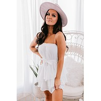 Living For It Ruffle Dress (White)