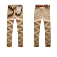Slim Fit Solid Casual Pants