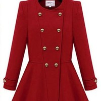 New Women Long Sleeve Double-breasted Cashmere Autumn Skater Trench Coat Jacket (M, Red)