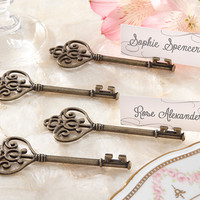 """Key To My Heart"" Victorian-Style Key Place Card Holder Wedding Favors"