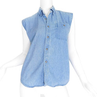 XS / S 90s Sleeveless Denim Button Up Shirt - Vintage Unisex Chambray Top
