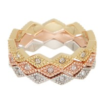 Ariella Collection | 14K Gold Plated Tri-Tone Stack Ring Set | Nordstrom Rack